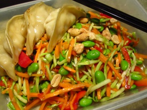 Asian salad with potstickers